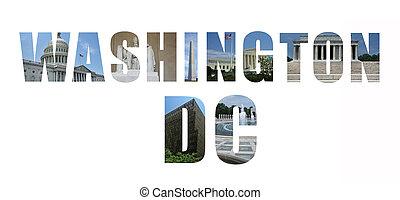 monumentos, señales, collage, cc, washington