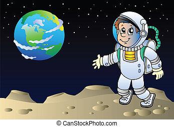 Moonscape con astronauta de caricatura