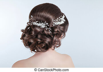 morena, niña, pelo, belleza, boda, hairstyle., bride., rizado, estilo, barrette.