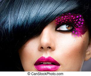 morena, peinado, moda, portrait., modelo