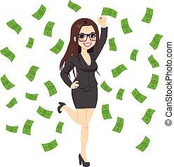 Morena rica y exitosa mujer de negocios