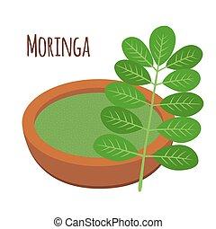 Moringa, comida vegetariana. Nutrición saludable. Hierba, vegetal, polvo, árbol en maceta.