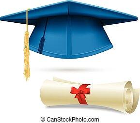 Mortero Cyan y diploma