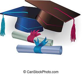 Mortero de graduación con certificado