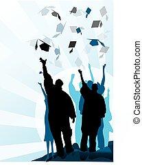 Mortero de graduación y diploma