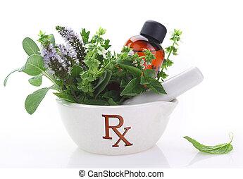 Mortero de porcelana con símbolo de réx y hierbas frescas