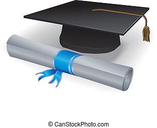 mortero, diploma, graduación