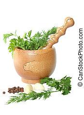 mortero, verde, árbol, guisantes, aceituna, ajo, dulce, mano de mortero