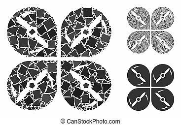 mosaico, airdrone, brusco, tornillos, rotación, partes, icono