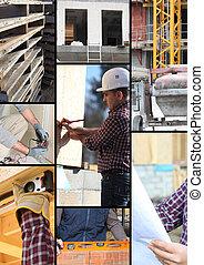 Mosaico de los trabajadores en una obra