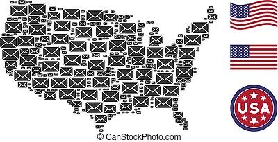 Mosaico mapa de EE.UU. de sobre de correo