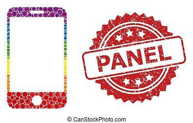 mosaico, panel, smartphone, estampilla, espectro, caucho