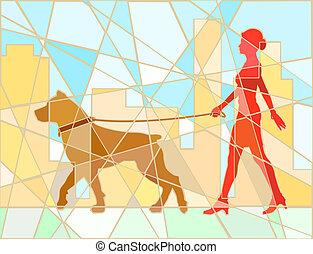 Mosaico paseador de perros