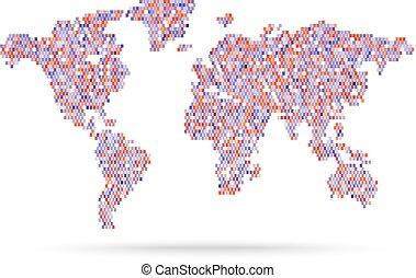 Mosaik rosa estilo retro ilustración de mapas del mundo