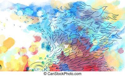 mosca, colorido, resumen, soñador, plano de fondo, pájaro