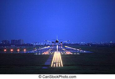 mosca, pasajero, encima, arriba, avión, take-of