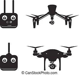 mosca, vector, aéreo, ilustración, zángano, cámara, vídeo, helicóptero, silueta
