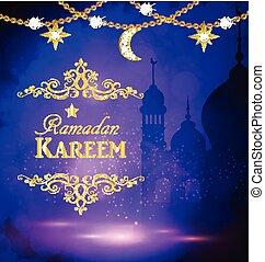 Mosque silueta en el cielo del atardecer y luz abstracta para el ramadán del Islam