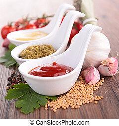 mostaza, salsade tomate, salsa, pesto