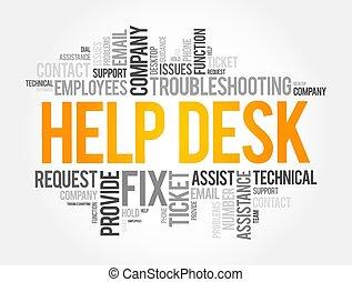 mostrador de ayuda, concepto, palabra, nube, collage, empresa / negocio