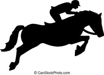 Mostrar caballo saltar con jinete