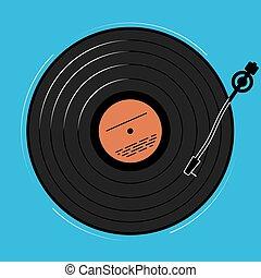 mostrar, registro, disco, jugador, música, vinilo, nightclub., esquemáticamente, o, simply.