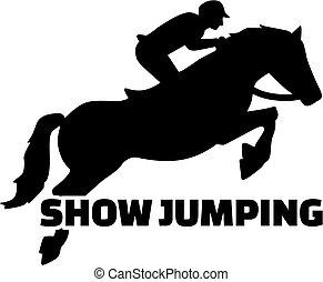 Mostrar salto con silueta de caballo