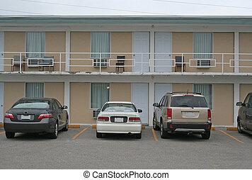 motel, barato, exterior