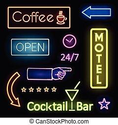 motel, luces de neón, encendido, señales, café