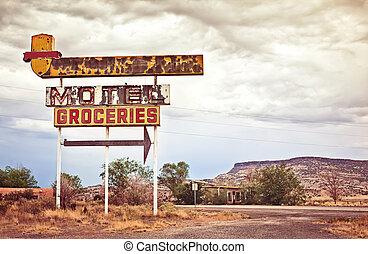 motel, viejo, señal