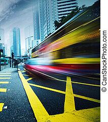 motion., exceso de velocidad, autobús, confuso
