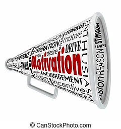 Motivación megáfono megáfono, inspiración líder de comunicación