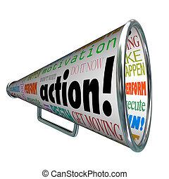 motivación, misión, megáfono, palabras, acción, megáfono