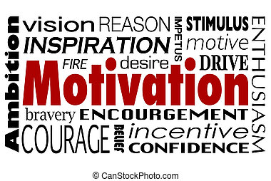 Motivación palabra collage inspiración motivación impulsa ambición