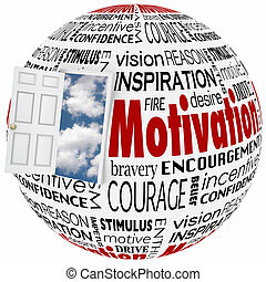 Motivación palabra globo abre puerta oportunidad conseguir éxito inspiración