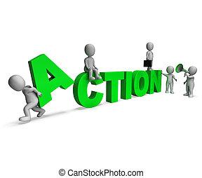 motivado, caracteres, actividad, acción, o, proactive, exposiciones