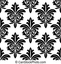 motivo, negrita, foliate, negro, arabesco, blanco