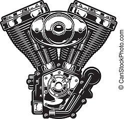 motocicleta, motor, vendimia, plantilla