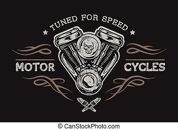 motocicleta, style., motor, vendimia