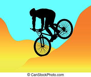 motociclista de montaña, equitación, montañas