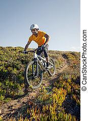 motociclista de montaña, equitación, rastro, suciedad