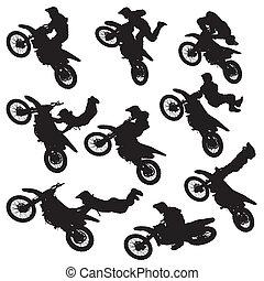 motocross, silueta, estilo libre