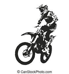 motocross, silueta, vector, rider.