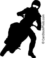 motocross, siluetas, vector, negro, motorcycle., illust, jinete