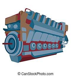 motor, aislado, objeto, motor, blanco, vector, ilustración, caricatura, plano de fondo