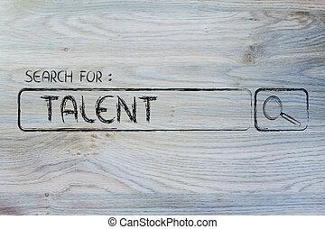 motor, búsqueda, talento, barra