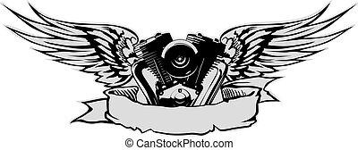 Motor con alas grises