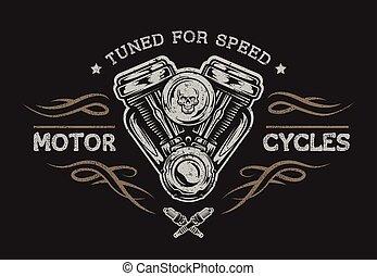 Motor de motocicleta en estilo clásico.