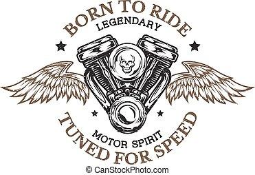 Motor de motocicleta y alas.