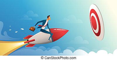motor, empresa / negocio, delantero, vector, grande, cohete, vuelo, target., ilustración, concepto, hombre de negocios